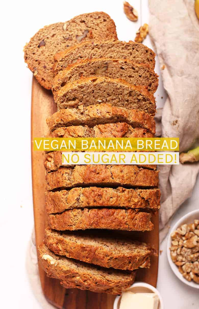 This healthy vegan banana bread is sweetened naturally with dates and bananas for a delicious, moist, and healthy morning or midday sweet bread. Prepare this easy quick bread recipe in just 10 minutes. Then sit back with a cup of tea and relax while you watch it bake. #vegan #bananabread