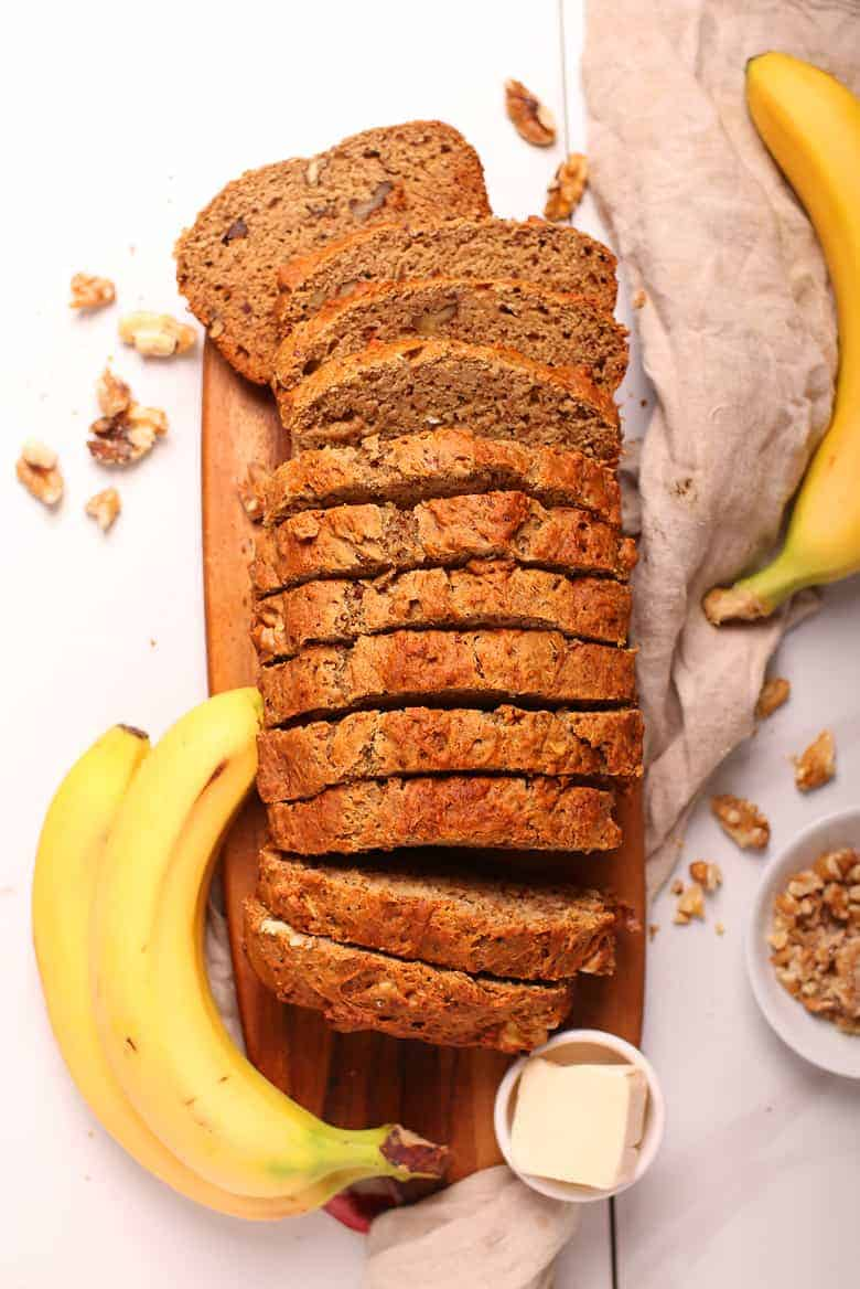 Vegan Banana Bread cut into slices