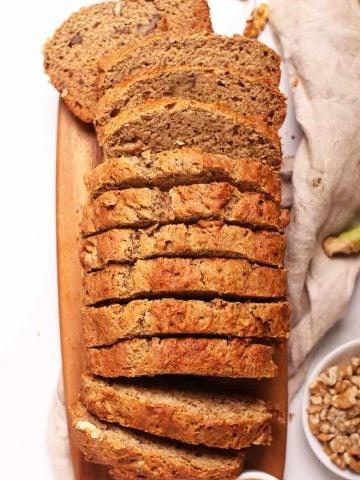Slices of vegan banana bread