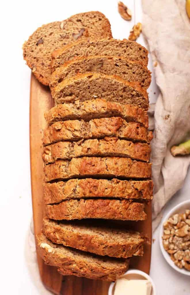Slices of vegan banana bread
