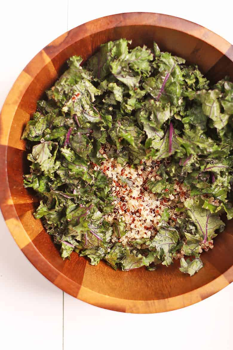 Kale and quinoa in a wooden bowl