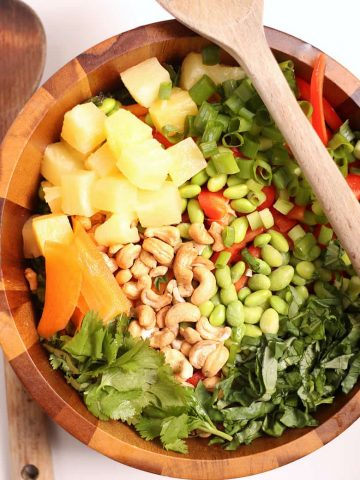 Thai Salad in a wooden bowl