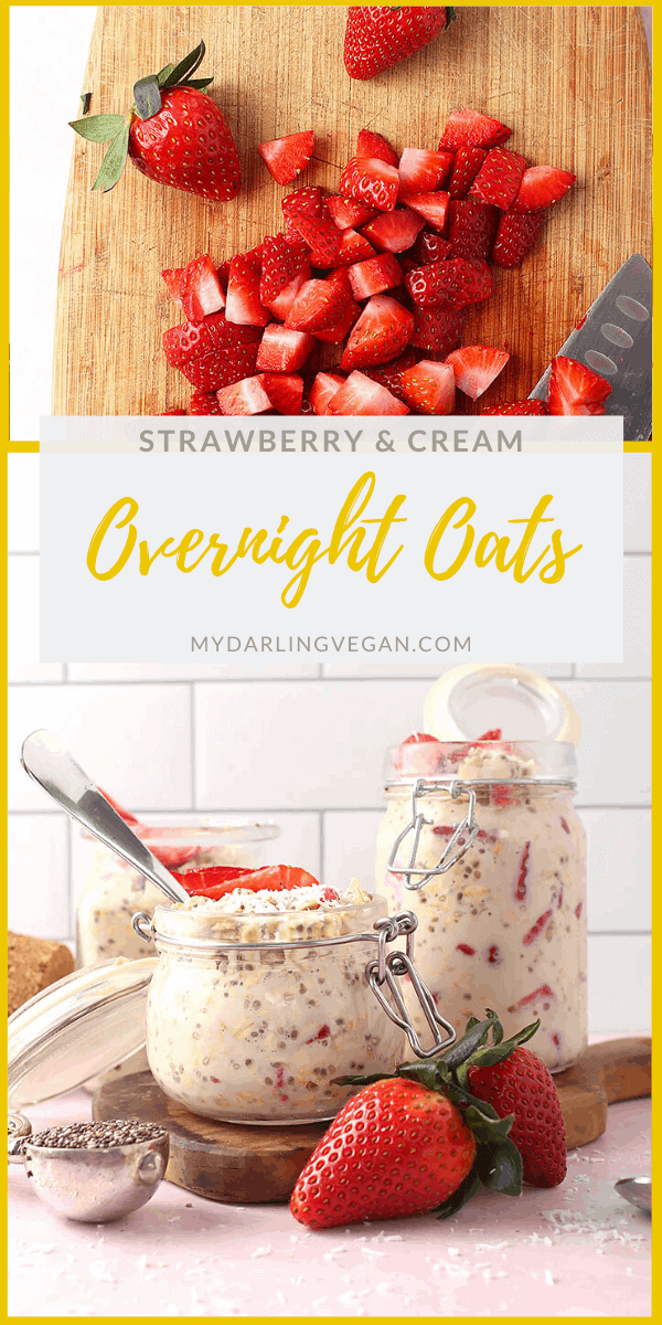 Wake up to this delicious grab-and-go breakfast. These vegan Strawberry Overnight Oats are a hearty, sweet, satisfying, and wholesome meal. Throw them together in just 5 minutes for a quick and easy breakfast all week long.