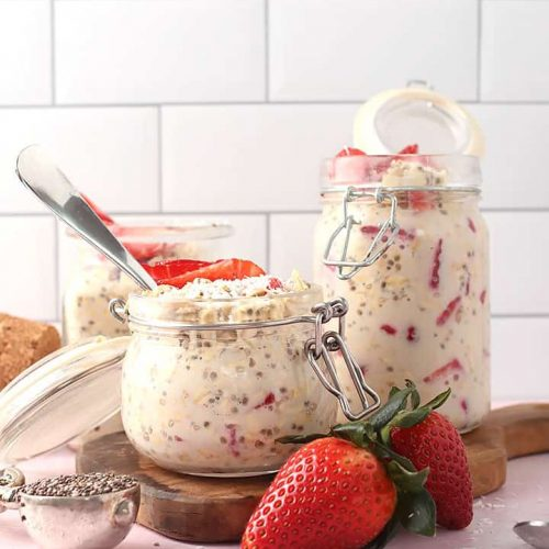 Strawberry Overnight Oats in 3 glass containers