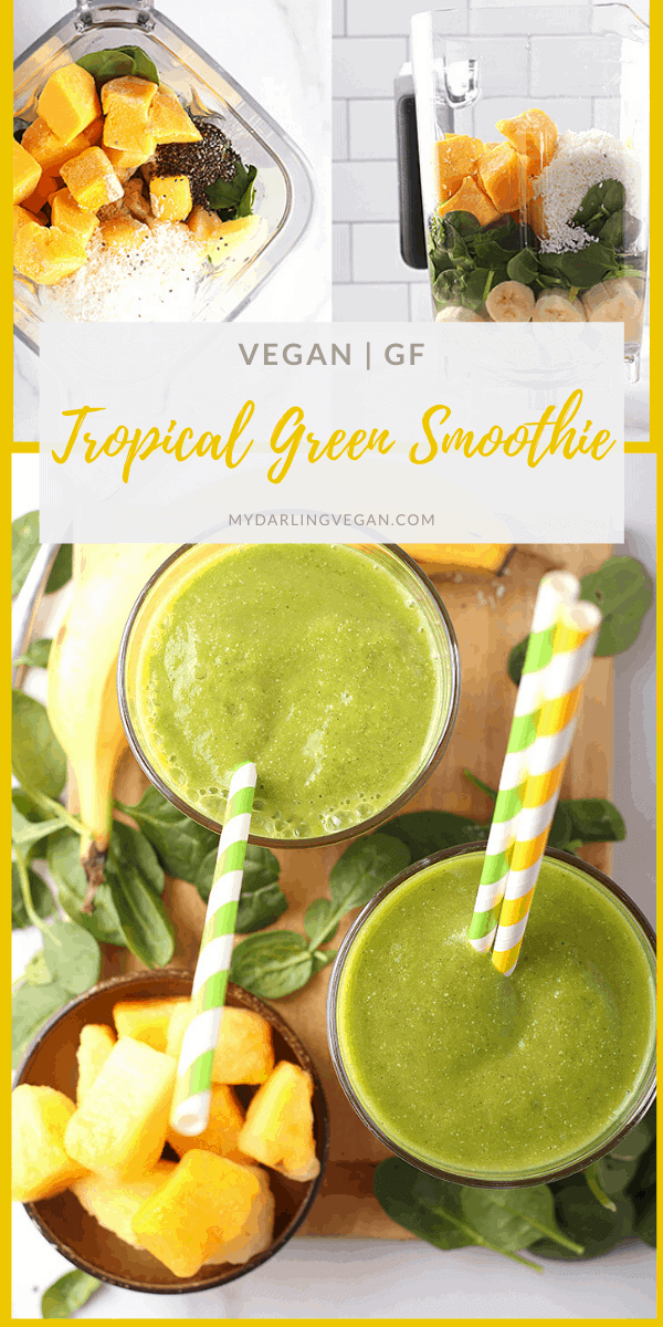Rehydrate yourself with this refreshing tropical green smoothie. It's made with mangos, coconut, bananas, and spinach. Finished in just 5 minutes for an energizing and wholesome breakfast or midday meal.