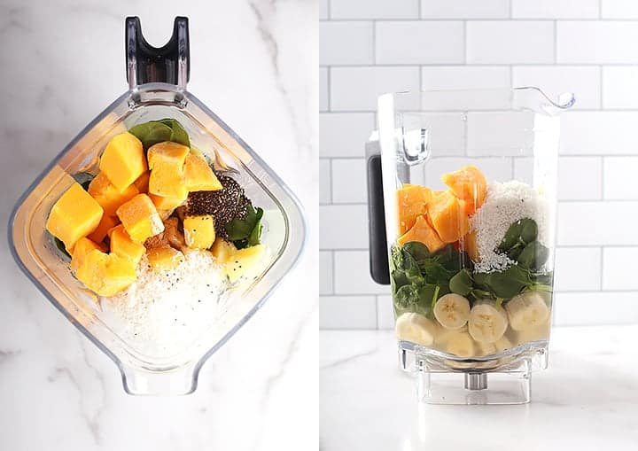 Pineapple, mango, and spinach in a blender