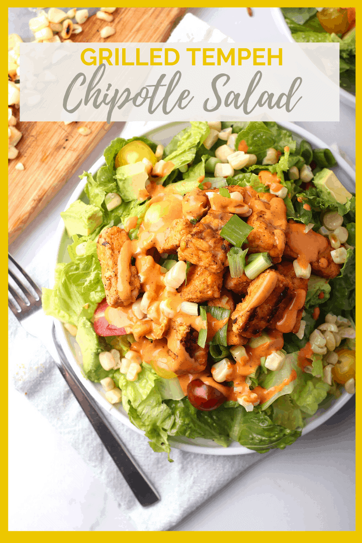 Enjoy the flavors of summer with this blackened tempeh chipotle salad. Tossed with avocado, charred corn, and tomatoes and dressed in a creamy chipotle ranch, this is a vegan and gluten-free salad that everyone will love.