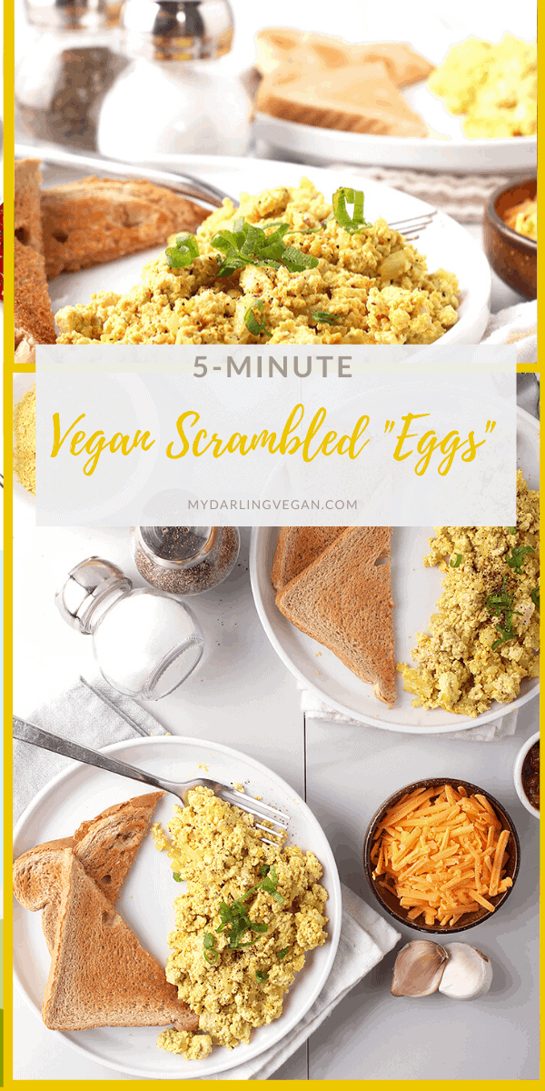 Vegan scrambled eggs at least! These easy vegan scrambled eggs are made with crumbled tofu and flavored with nutritional yeast garlic, and onions for a simple, hearty and healthy 5-minute breakfast.