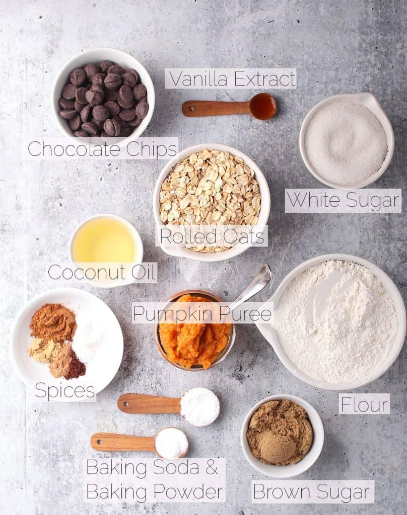 Ingredients for vegan pumpkin cookies