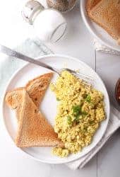 Tofu Scrambled Eggs on white plate