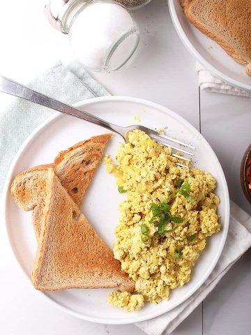 Tofu Scrambled Eggs on white plate
