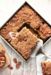 Vegan Coffee Cake with Pumpkin and Pecan Streusel