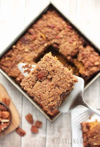Vegan Pumpkin Coffee Cake with Pecan Streusel