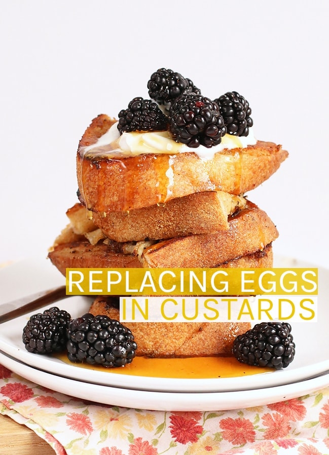 Stack of vegan French toast with blackberries
