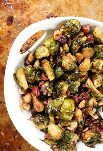 Maple Balsamic Brussels Sprouts with Hazelnuts and Rosemary