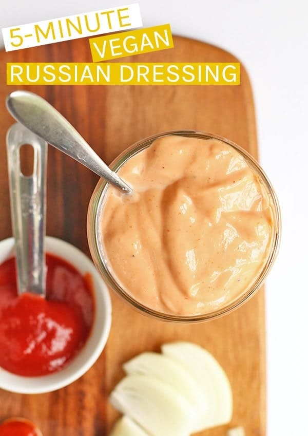 This vegan Russian Dressing can be made in just 5 minutes for a delicious classic salad dressing filled with sweet and spicy flavors. #vegan #salad #russiandressing #veganrecipes