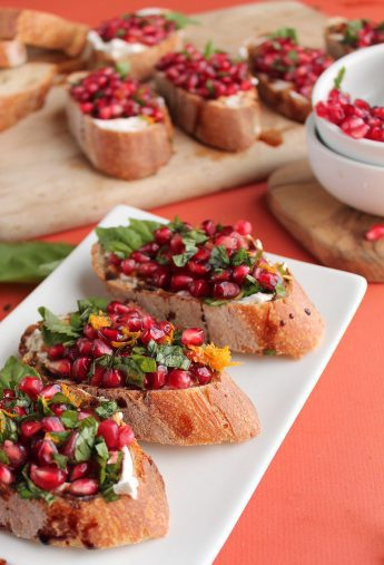 Vegan Pomegranate & Basil Bruschetta