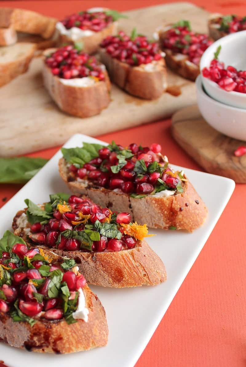 Pomegranate and Basil Bruscetta
