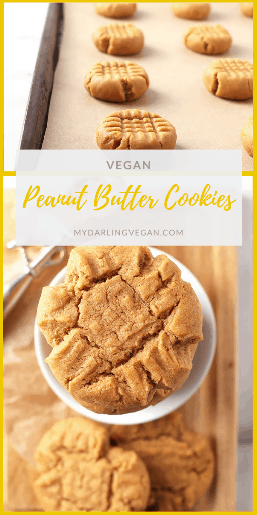 The perfect vegan peanut butter cookies! These cookies are sweet and salty, chewy, and unbelievably good. They are made in under 30 minutes for a delicious sweet treat. Beware, they are highly addictive.