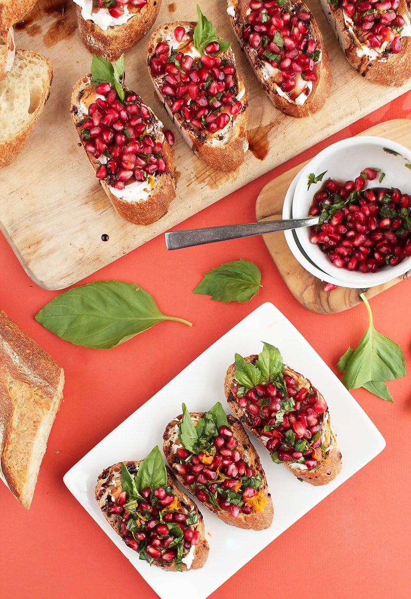 Pomegranate Cream Cheese Bruschetta