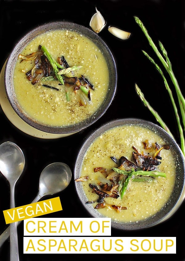 A vegan asparagus soup that is creamy, hearty, and filled with hidden vegetables making for a delicious and healthy winter meal. Made in just 40 minutes for a quick dinner any night of the week. #vegan #vegansoup #asparagus #veganrecipes