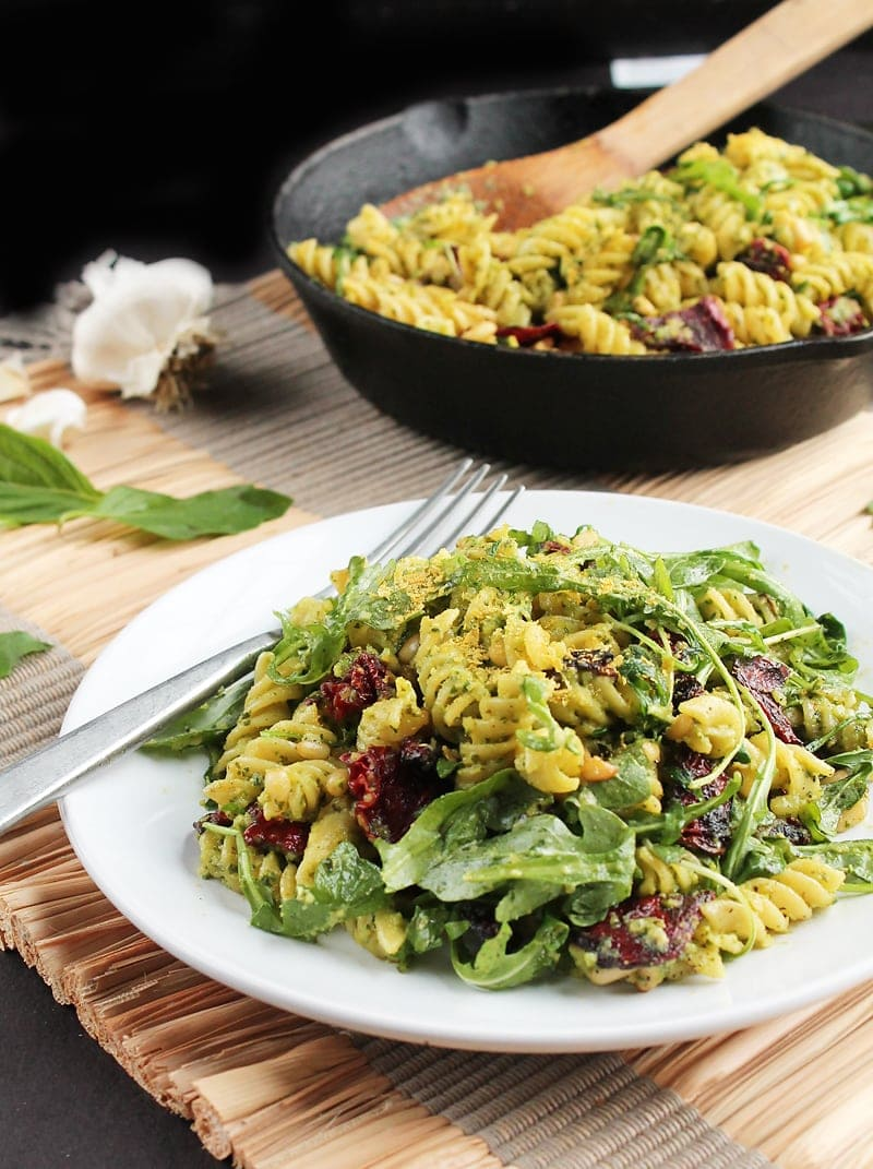 Vegan Pesto Pasta with Sun-Dried Tomatoes