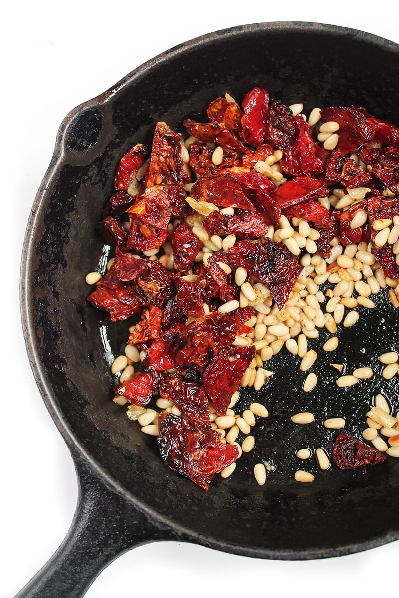 sun-dried tomatoes and pine nuts