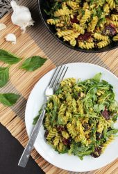 Vegan Pesto Pasta with Arugula & Sun-dried Tomatoes