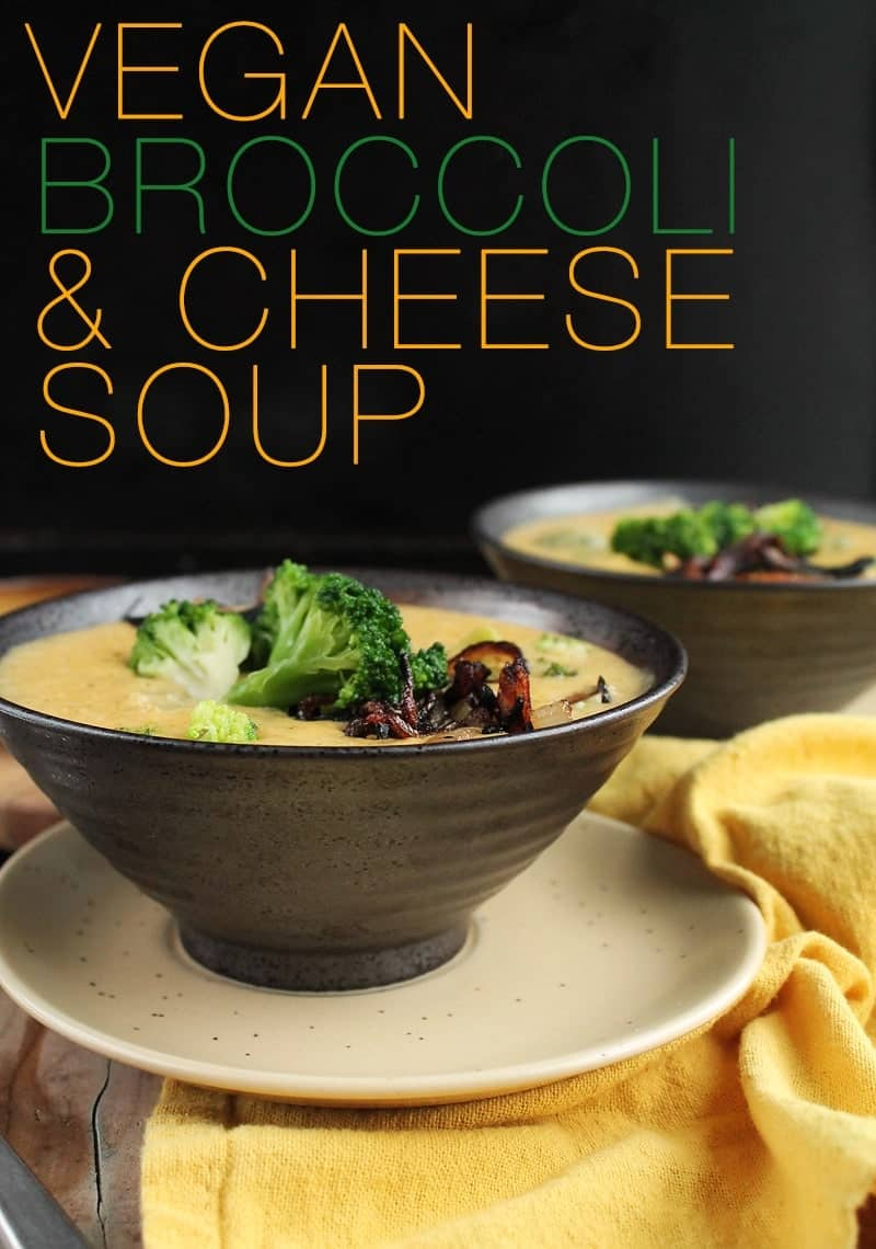Whip this vegan broccoli cheese soup up in minutes for a hearty, creamy, and so very cheesy way to warm up on a cold winter day. Made with fresh broccoli and vegan cheese sauce for a delicious holiday soup.  #vegansoup #vegancheese