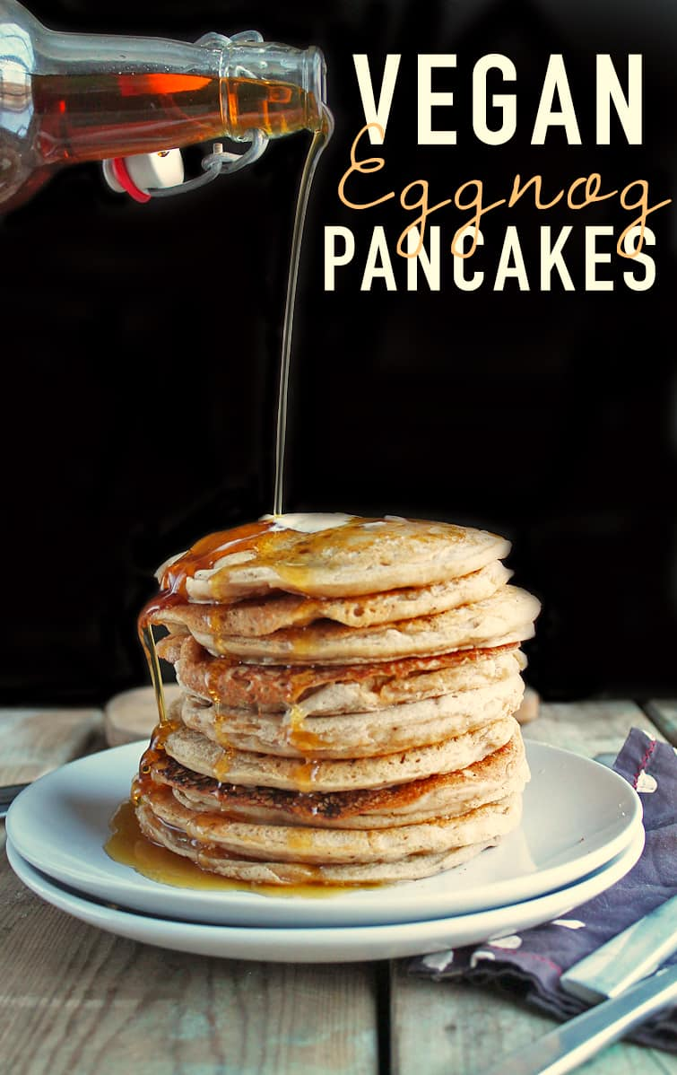 Eggnog Pancakes with maple syrup