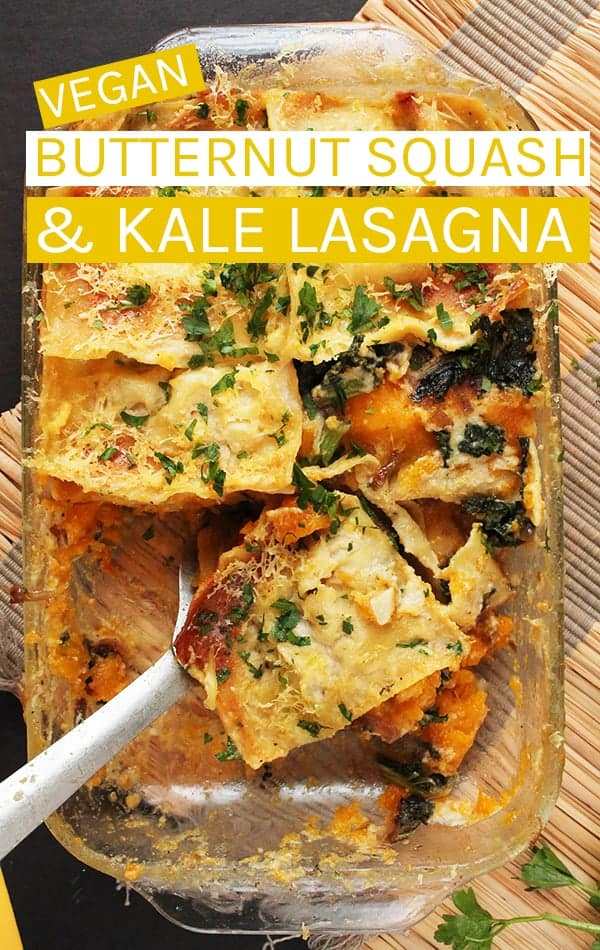 A fall-twist on a classic dish, this Vegan Butternut Squash Lasagna with bechamel sauce is the perfect dish for omnivores and vegans alike.  #vegan #vegandinner #veganlasagna #lasagna