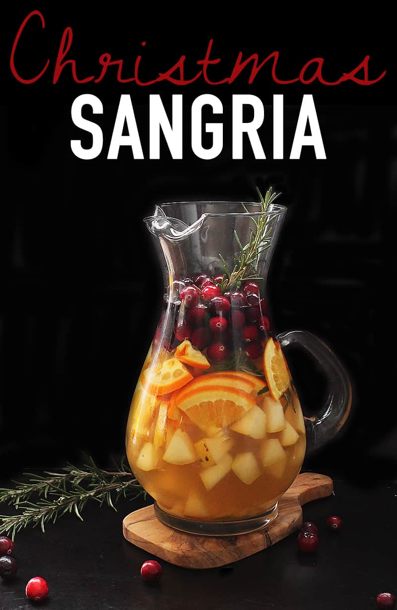 Christmas Sangria in large glass pitcher
