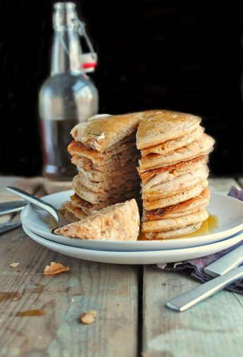 Vegan Eggnog Pancakes with Rum Maple Syrup