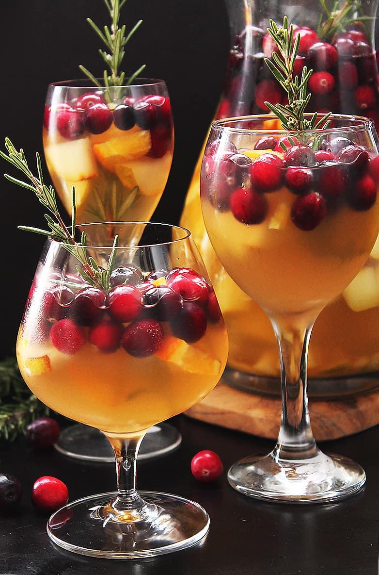 Three glasses of Christmas Sangria