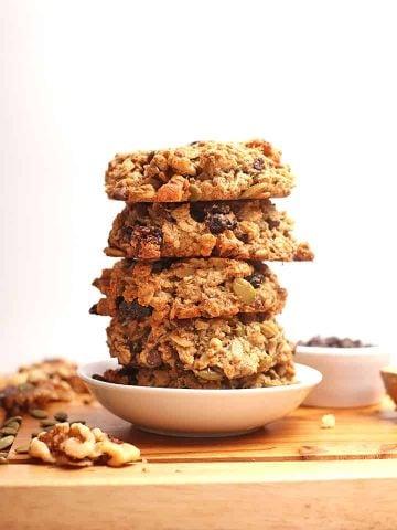 Stack of vegan breakfast cookies