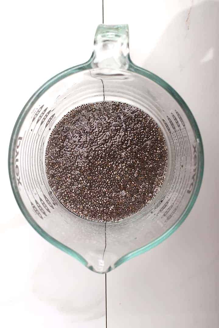 Chia eggs in measuring cup