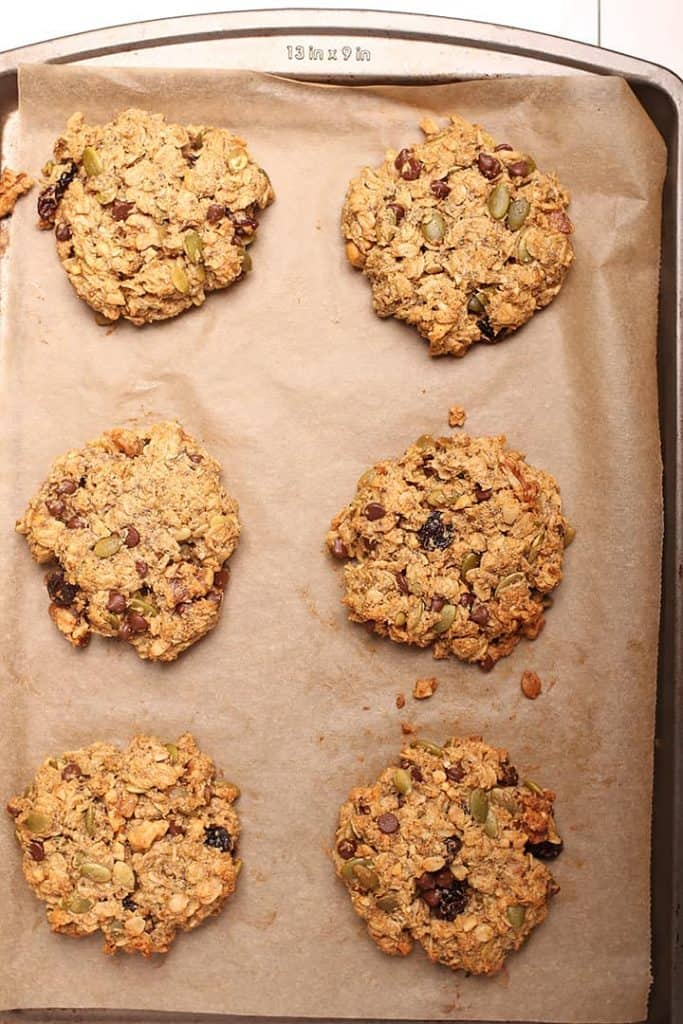 Vegan breakfast cookies on baking sheet