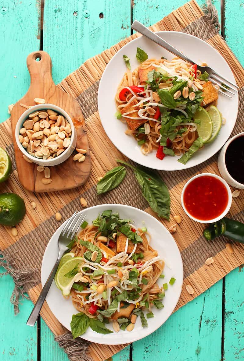 Vegan Pad Thai on two white plates