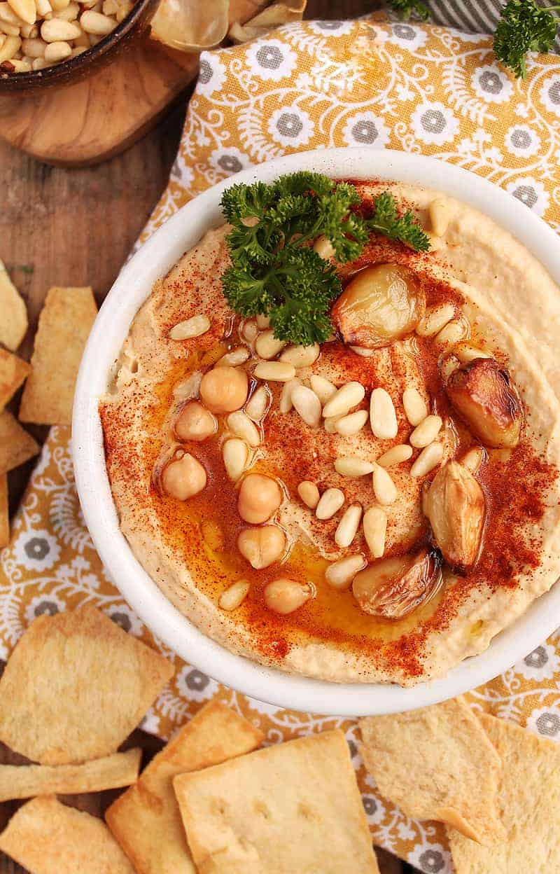 Roasted Garlic Hummus with pine nuts and paprika