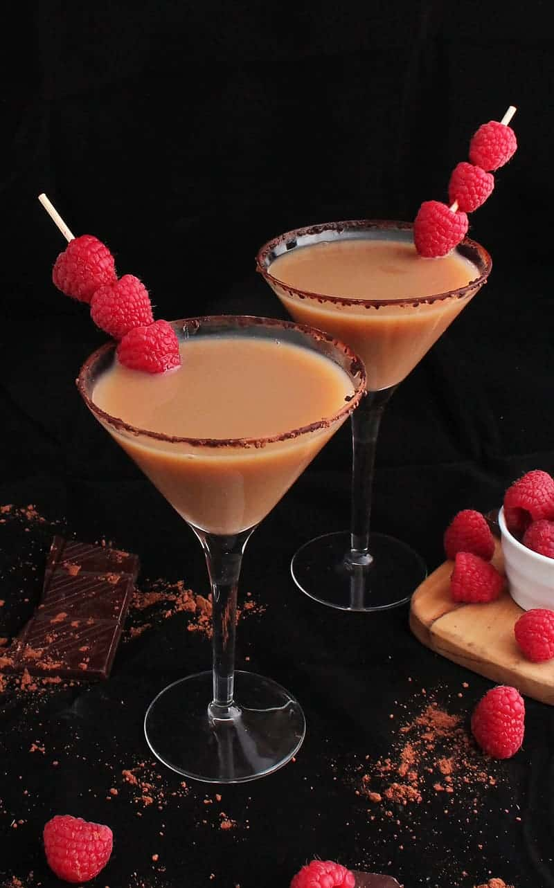 Two Chocolate Raspberry Martinis