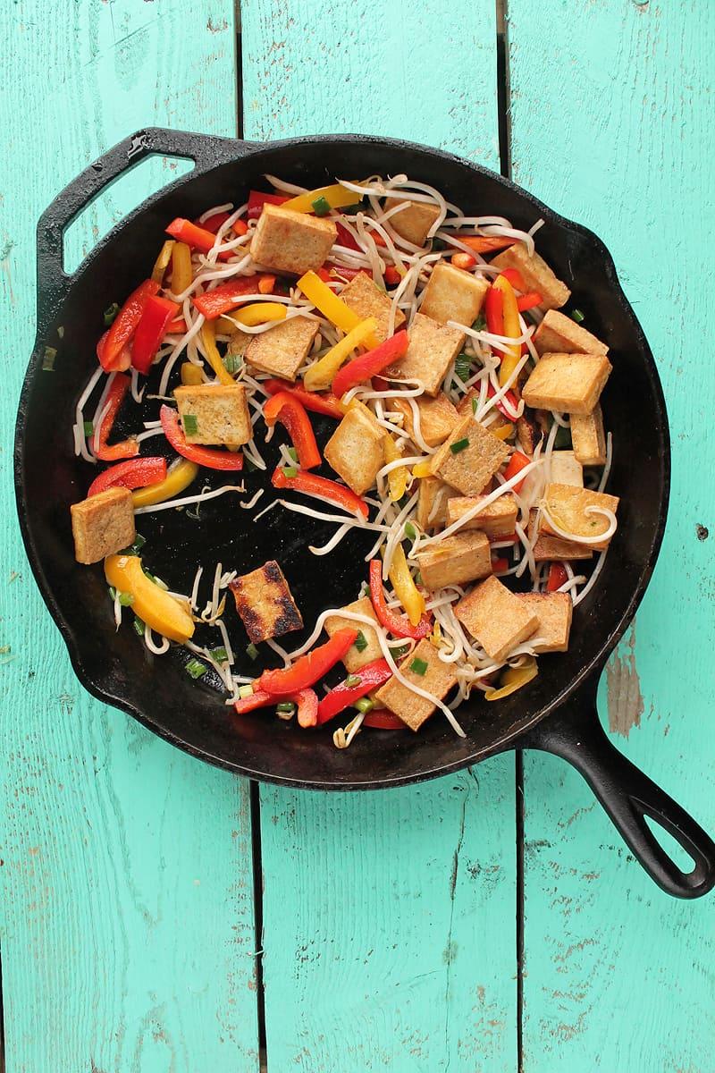 Vegan Pad Thai in a cast iron skillet