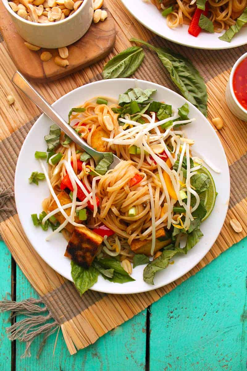 Vegan Pad Thai with a fork