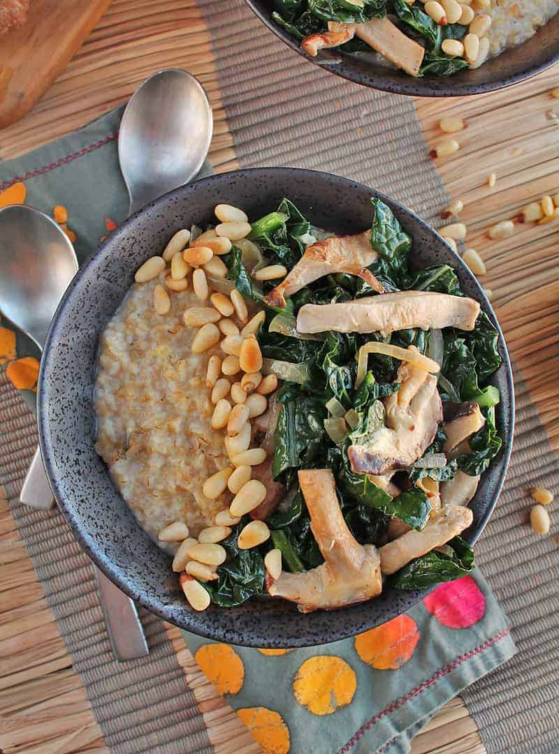 Shiitake Mushrooms and Kale Savory Oatmeal - My Darling Vegan