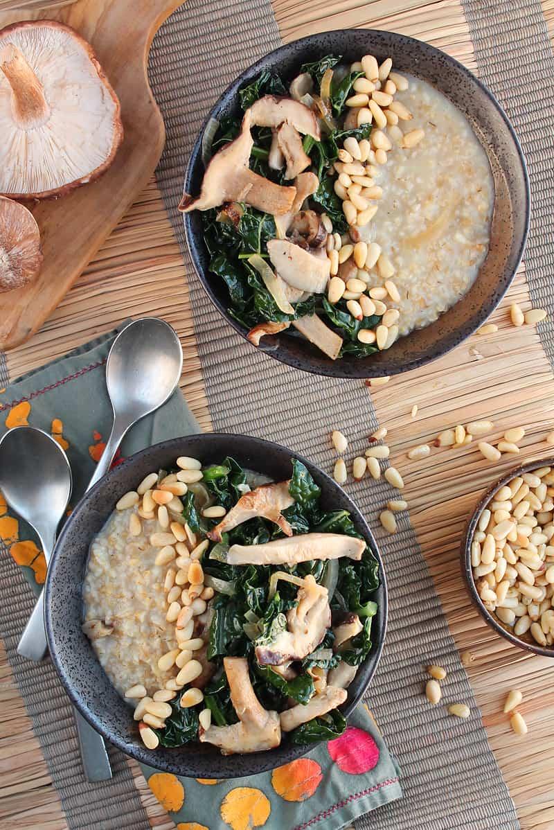 Shiitake Mushrooms and Kale Savory Oats