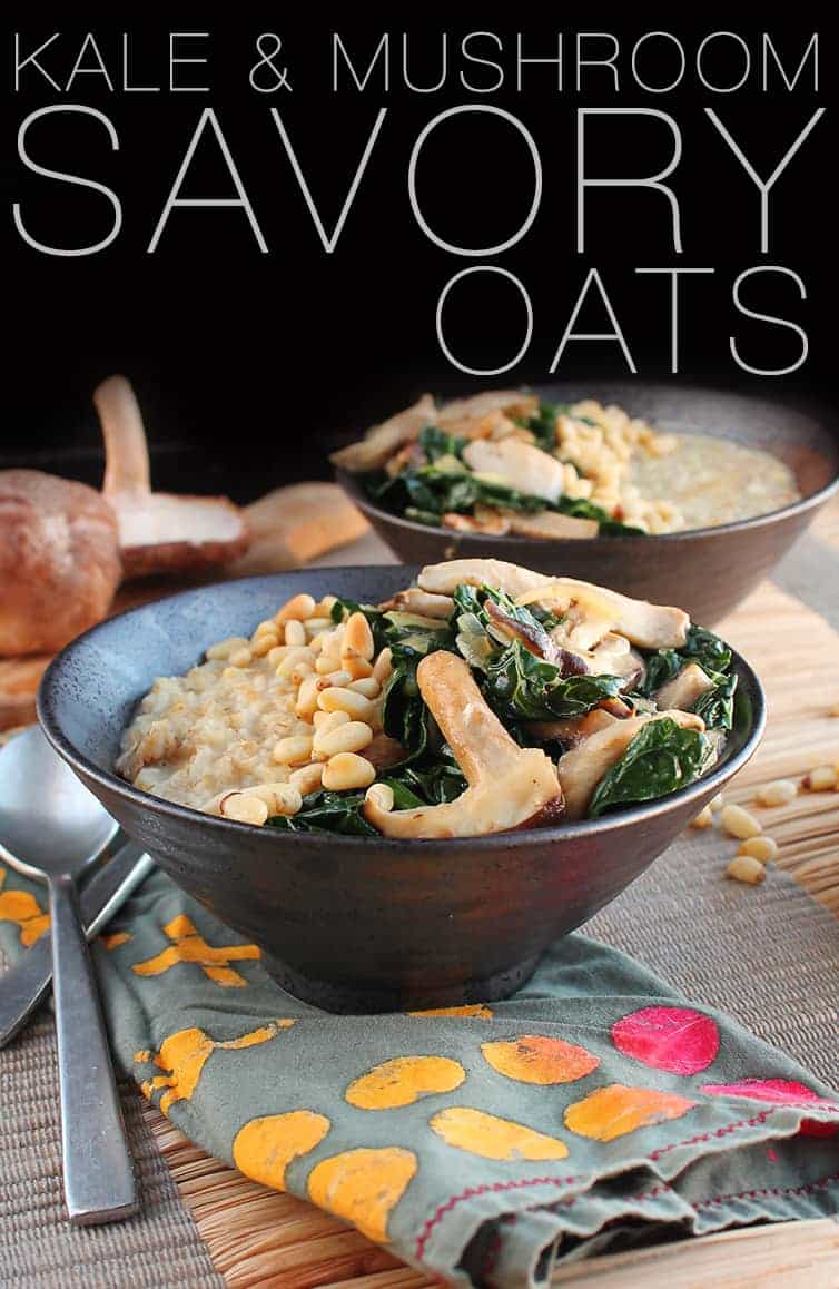 This vegan savory oatmeal is made with steal cut oats, fresh kale, and shiitake mushrooms for a hearty and healthy breakfast. Made in just 30 minutes for a meal that will keep you fueled all morning.