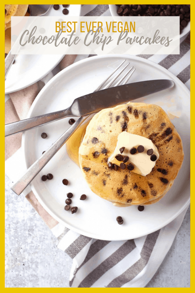 These decadent vegan Chocolate Chip Pancakes are the best way to start your day! Fluffy, sweet, and filled with chocolate in every bite, this is a breakfast worth getting out of bed. Made in under 20 minutes!