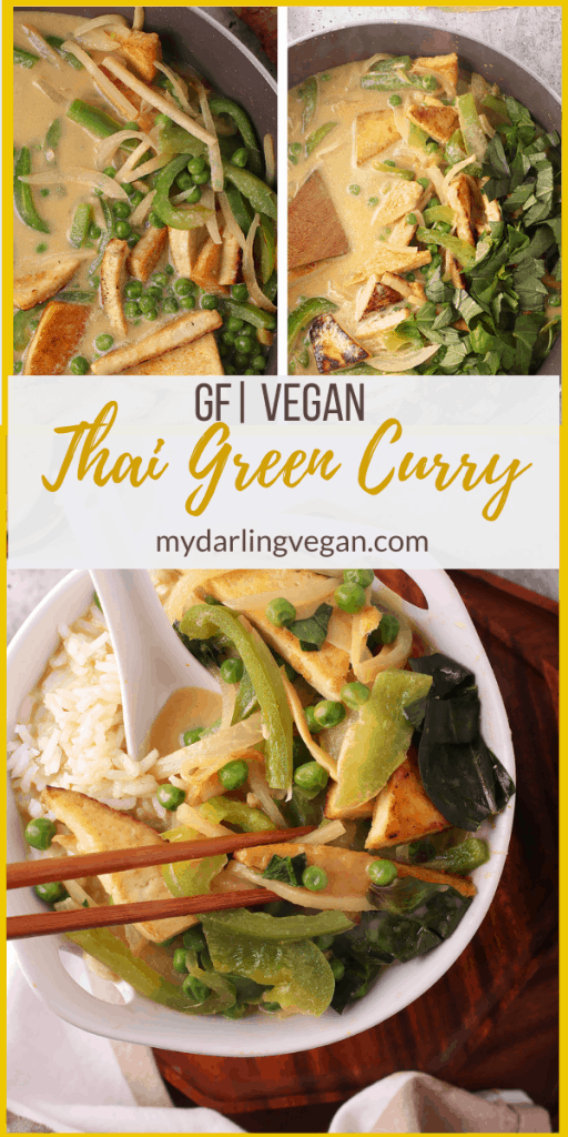 This Thai Green Curry is filled with fresh green vegetables and pan-fried tofu for an easy healthy and delicious weeknight meal. Vegan and Gluten-free; made in under 30 minutes