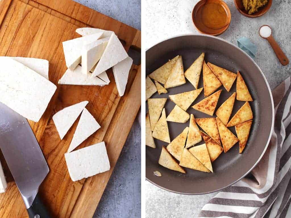 Tofu cut into triangles and lightly pan-freid