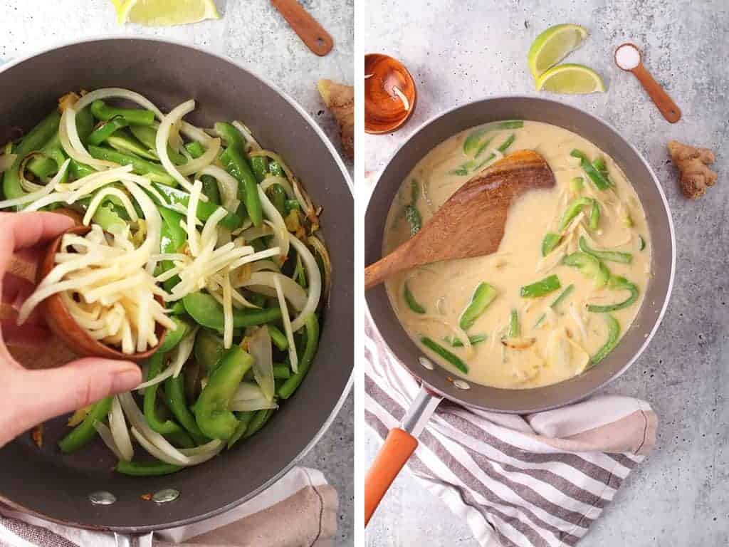 Thai Green curry sauce in a skillet