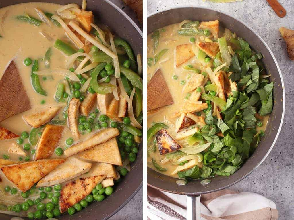 Thai Green curry in a large skillet